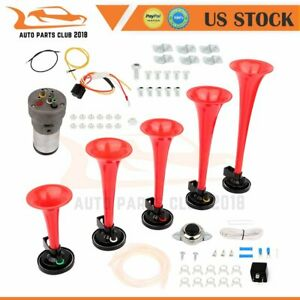 5 Trumpet Dixie Musical Car Air Horn Kit For Dukes Of Hazzard General Lee Red