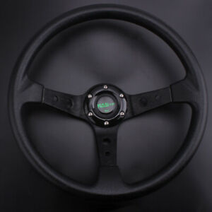 Us Steering Wheel 350mm 14inch Deep Dish 6 Bolt Pu Leather Horn Button Racing
