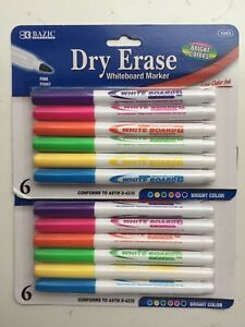 Two 6 pk Dry Erase White Board Markers Fine Point Tip 6 Colors New