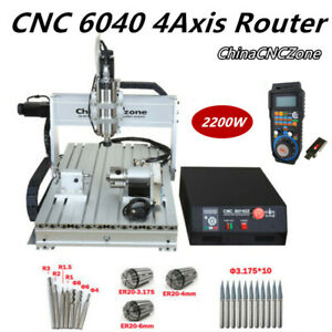2 2kw Cnc 6040 4axis Router Mach 3 Usb Engraving Diy Cutting Milling Machine Us