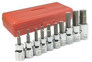 10pc Crv Drop Forged Metric 3 8 1 2 Drive Hex Key Allen Head Socket Bit Set