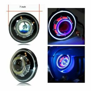7 Inch Demon Eye Led Projectors Headlights Round W Angel Halo Rings For Jeep Jk