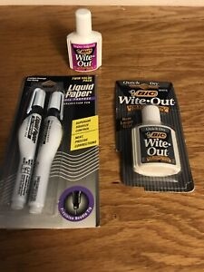 3pcs Vintage Liquid Paper Pen And Ink Correction Fluid Pens New In Package