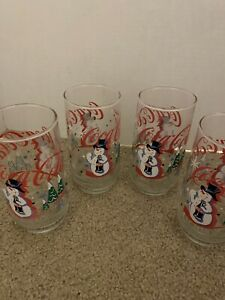 Vintage Coca-Cola Glass Snowman Christmas Holiday Winter Tree x 4