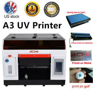 Achi A3 Uv Printer 1390 Printed Head Cylindrical 3d Embossed Flat T Shirt Table