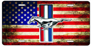 New Custom American Flag Ford Mustang Vanity License Plate