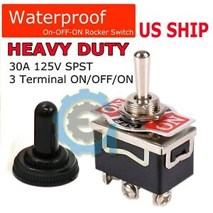Toggle Switch On off on Heavy Duty 20a 125v Spdt 3 Terminal Car Waterproof Boot