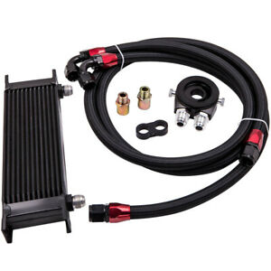 Universal Engine Oil Cooler 13 Row An10 Filter Adapter Kit Nylon Oil Lines