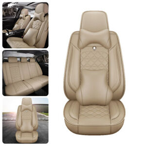 Full Car Seat Covers 5 Seats Front Rear 100 Top Pu Leather Protector Cushion Us