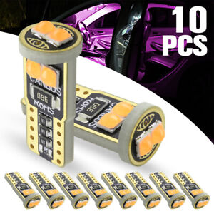 10pcs Purple T10 Led Canbus 6smd 194 168 W5w Car Wedge Side Light Dome Lamp Bulb