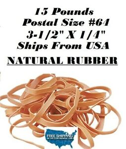 15 Pounds 64 Natural Rubber Rubber Bands Postal Size 3 1 2 X 1 4 Free Sh