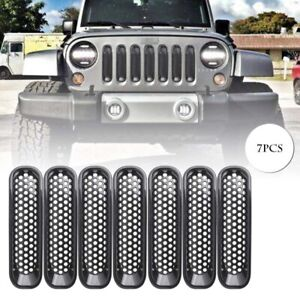 7pcs Front Insert Mesh Grille Trim Grill Cover For Jeep Wrangler Jk 2007 2015