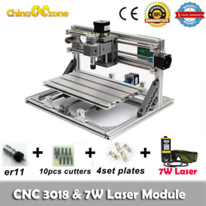 3018 Cnc Router Engraving Carving Milling Cutting Diy Machine 7w Laser Module Us