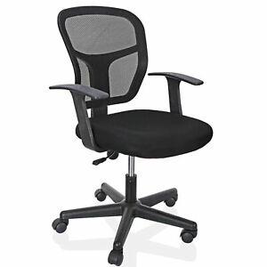 Black Ergonomic Executive Mesh Chair Swivel Mid Back Office Chair Computer Desk