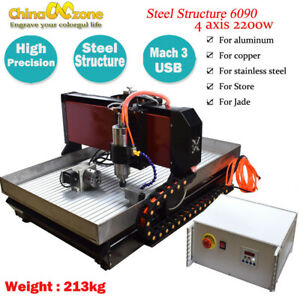6090 Steel Cnc Router 4axis 2 2kw Mach3 Engraver Cutting Machine For Metal Brass