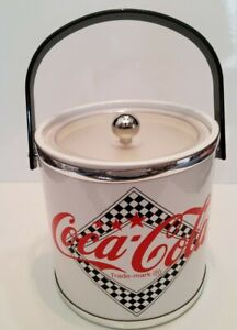 White Coca Cola Ice Bucket Silver Rings at Top/Bottom Black Handle Made In USA