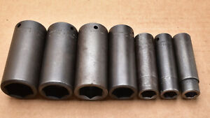 Cornwell Apex Wright 7 Piece 1 2 Dr Sae 6 Point Deep Impact Socket Lot t1618