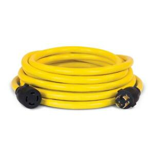 Generator Power Cord 25 ft 250 Volts Portable Plugs Thermoplastic Jacket Yellow