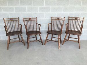 Antique Maple Birdcage Style Faux Bamboo Arm Chairs Set Of 4