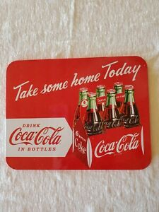Coca Cola Metal Sign With Cardboard Backing  2009 Approximately 8 1/2 X 6 1/2
