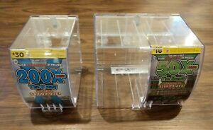 3 Lottery Scratch Ticket Display Case Box Dispenser Unit Lot Key Clear Plastic 3