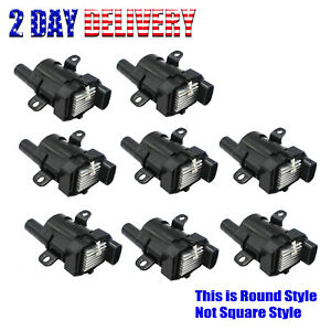 Pack Of 8 Round Ignition Coils For Chevy Silverado 1500 Gmc 4 8 5 3 6 0l Uf262
