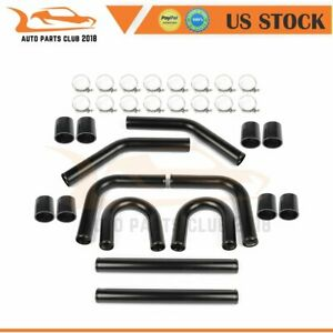 8p 2 5 In Turbo Intercooler Pipe Silicone Hose T clamp Kit Set Universal Tube