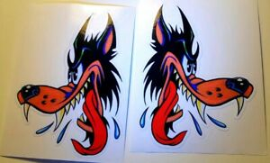 Lone Wolf Sticker Decal Hotrod Rat Rod Vintage Look Car Truck Drag Kustom Set