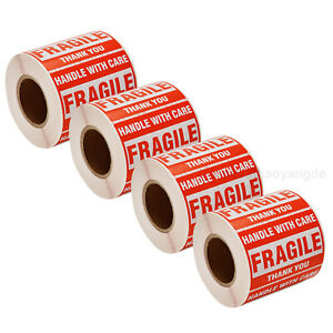 4 Rolls Fragile Stickers Handle With Care Thank You 2 x3 500pcs Per Roll Us