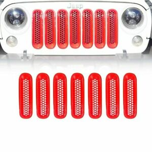 7pc Red Front Insert Mesh Cover Grille Trim Fit S 07 18 Jeep Wrangler Jk