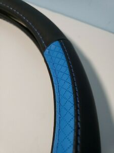 Leather Steering Wheel Cover Black And Diamond Blue Universal Ghd37 5x8 3 018