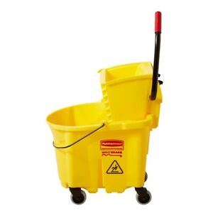 Rubbermaid Commercial Products Wavebrake 35 Qt Plastic Mop Bucket With Wringer