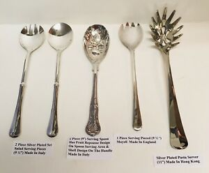 Assorted 5 Pieces Total Of Silver Plated Serving Pieces Great For Holidays