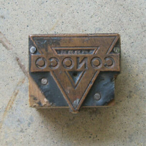 Vintage Conoco Advertising Wood Block W copper For Printing Press