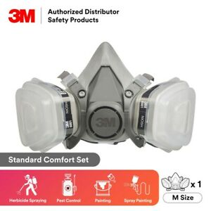 3m 7 In 1 6300 Half Face Reusable Respirator For Spraying Painting Large