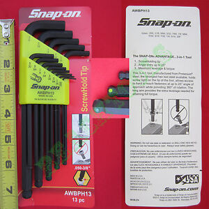 New Snap On 13 Piece L Shape Standard Ball End Hex Key Set Awbph13 Made In Usa