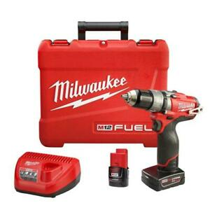 New Milwaukee 2404 22 M12 Fuel 1 2 Hammer Drill driver Kit
