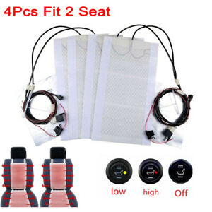 12v Universal Car Carbon Fiber Heated Seat Heater Kit Cushion Round Switch Set