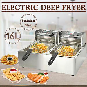 16l Electric Deep Fryer Dual Tank Commercial Countertop Fry Basket Restaurant