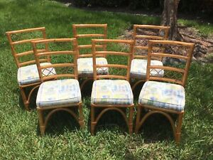 Set Of 6 Vintage Mid Century Modern Bamboo Rataan Tan Dining Chairs Palm Beach