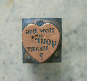 Vintage heart Advertising Wood Block With Copper For Printing Press