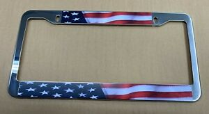Usa Us American Flag Mirror Chrome Finish Metal License Plate Frame New Patroit