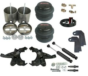 92 98 Silverado Front Air Ride Kit Bolt In Bags Drop Spindle Shock Relocator