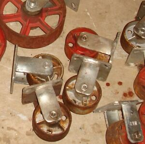 4 Vintage Cast Iron Wheels 4 Fixed Industrial Casters 4 Inch