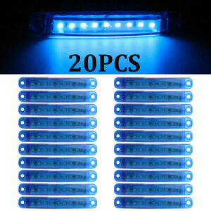 20x Blue Led Clearance Side Marker Truck Trailer Van Lights Waterproof Lamp 12v