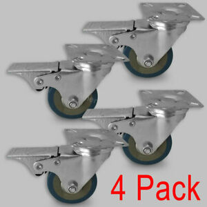 4 Pack 2 Caster Wheels Swivel Plate With Safty Locking Brake