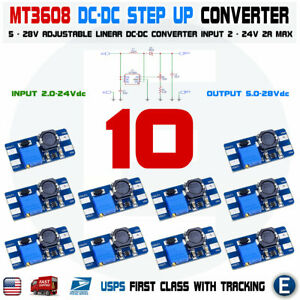 10pcs Mt3608 Dc 2a Step Up Power Booster Module 2v 24v Boost Converter Arduino