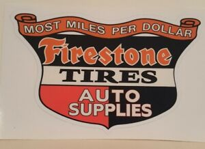 Firestone Shield Sticker Decal Hotrod Rat Rod Vintage Look Drag Racing Gasser