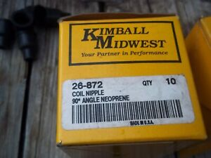 Box Of 10 Kimball Midwest Spark Plug Wire Ends Coil Nipple 90 26 872