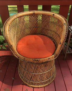 Vintage Woven Rattan Wicker Barrel Back Tub Chair Black Accents
